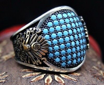 Turkish 925 S. Silver SPECIAL turquoise stone Mens Ring Sz 11 us  Free Resize