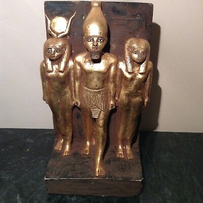 Rare Antique Ancient Egyptian Statue pharao Menkaure God Hathor&Isis 2560-2499BC