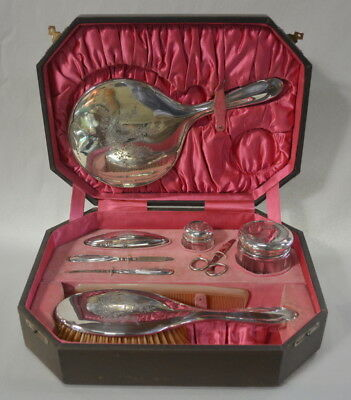 Sterling Silver Vanity Set with Case Daniel Manufacturing Co DM Co Manicure
