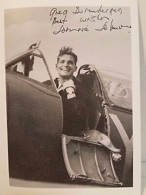 RAF Ace Pilot Johnnie Johnson- Spitfire Ace Signed 6x8