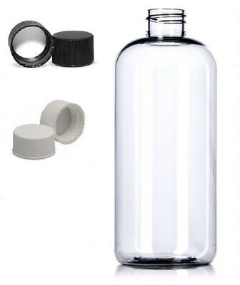 6 Pack 17 oz Clear PET Plastic Boston Round Bottles with Lined Screw Caps 16