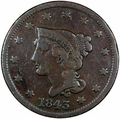 1843 Braided Hair Large Cent Petite Head Small Letters