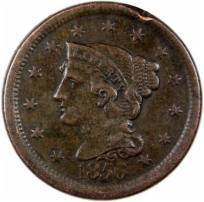 1856 Braided Hair Large Cent Slanted 5