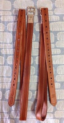 Bates Tan Oz Nut Leather Stirrup Leathers 135cms Numbered Holes Stitched Leather