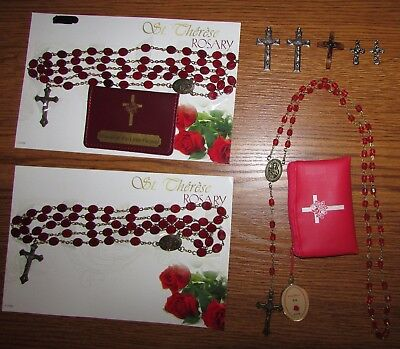 Religious Christian St Therese Rosary Pink Red Cross Friend of the Little Flower