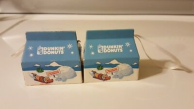 Dunkin Donuts Ornament 2003 2 lot Munchkin Box Xmas Miniature Donut Holes used