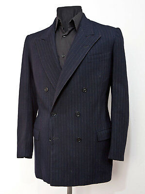 Vintage 1940's Bespoke Double Breasted Blue Pinstripped Wool Suit Jacket Size 40