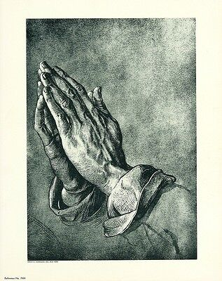 ALBRECHT DURER (DÜRER) Vintage Rare c1930s-40s Photo-litho PRAYING HANDS
