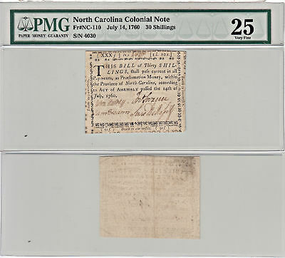 7/14/1760 30 Shillings F-NC-110 North Carolina Colonial Currency PMG VF-25