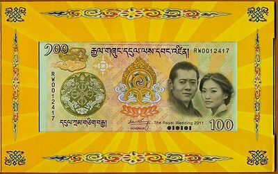 Bhutan,  100 Ngultum, 2011, Royal Wedding Commemorative, Folder, UNC