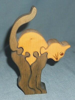 Hand Crafted Wood Puzzle Cat Figurine