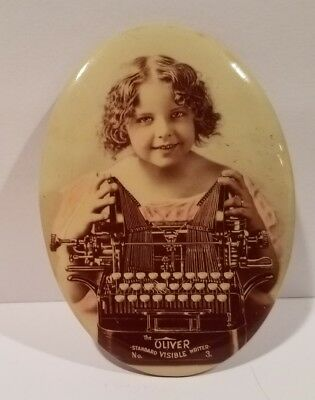 Early 1900's OLIVER Visible Writer Early TYPEWRITER  Pocket Advertising Mirror