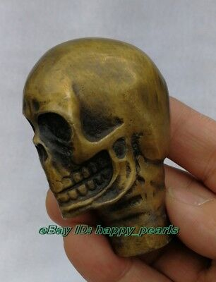 Victorian Walking Stick handle with Bronze skull Head Walking Stick handle wand