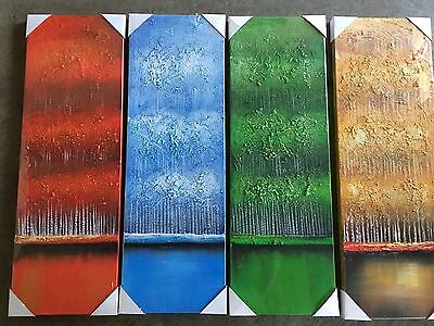 Framed 4 Seasons Oil Painting On Canvas Hand Paint - Ready To be Hung