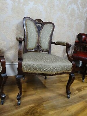 superbly shaped antique Edwardian Inlaid Fan Backed armchairs, need slight tlc