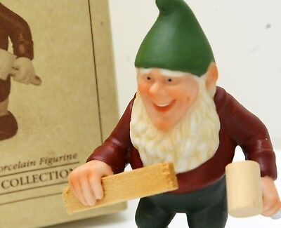 "1987 Hallmark Hand Painted Porcelain Elf Carpenter Figurine ""Hans"" New Old Stock"