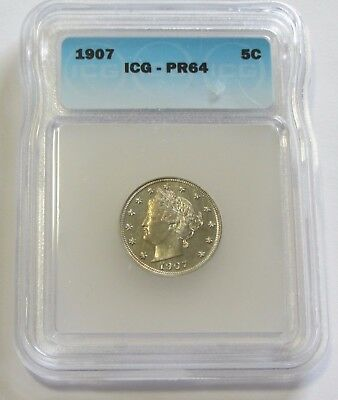 Awesome 1907 Proof Liberty Nickel Icg Pr 64