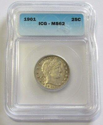 1901 Barber Quarter Icg Ms 62 Tough In Mint State Condition