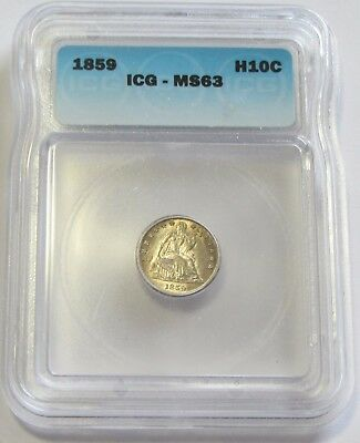 1859 Seated Half Dime Icg Ms 63 Grade Rarity Frosty Luster