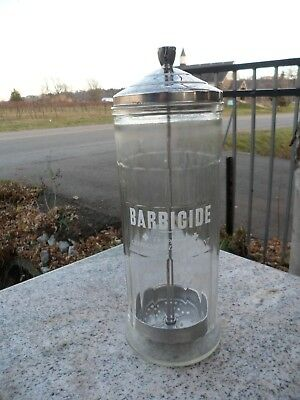 Vintage Mid Century Chrome King's Barber Shop Barbicide Glass Sterilizer Jar VTG