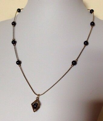 Vintage/Retro Gold Tone Necklace/Black Bead/Pendant/Unusual/Statement