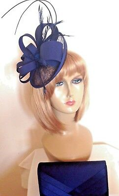 Navy Blue Fascinator/Hat & Bag Set, Weddings Races Formal & Special Occasions