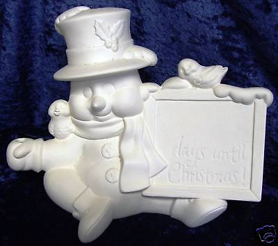 Ceramic Bisque Ready to Paint Xmas Countdown Snowman