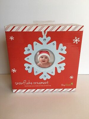 Tiny Ideas Snowflake Ornament Baby's First Christmas Photo New in Box