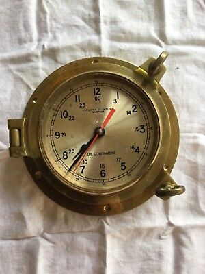 Vintage Brass Port Hole Clock Chelsea Clock Co US Government Marine Military