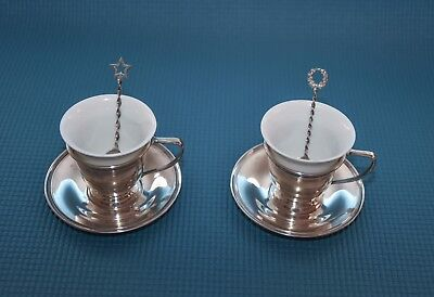 Pair of antique sterling demitasse cups with saucers & spoons