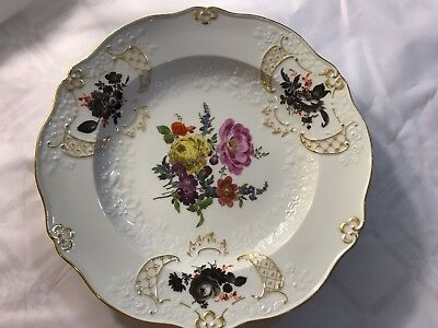 Antique Gilded Meissen Porcelain Plate crossed swords- first quality.