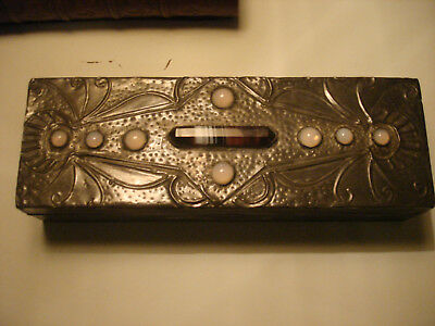 Beautiful  Arts & Crafts, Art Nouveau Pewter On Wood Casket With  Stones