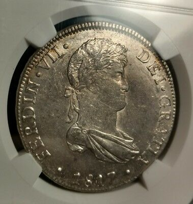 Nice find! NGC MS61 1817 PERU 8 Reales JP Wide Date - High Grade Silver Coin!