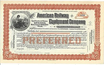 American Railway Equipment Company...1890's Unissued Stock Certificate