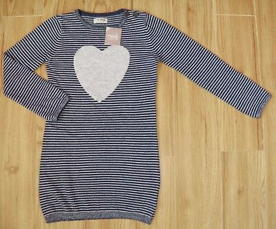 Bnwt Next Girls Knitted Jumper Dress 5-6 Years New Silver Christmas Party Navy