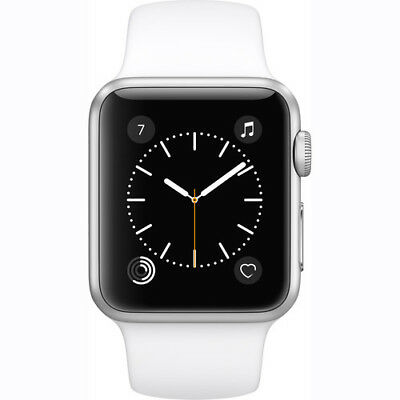 New Apple Watch 2 Series 1 38Mm Silver Aluminum Case White Sport Band