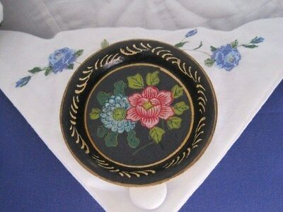 Mini Hand Painted French Country Vintage Japan Paper Mache Tole Pin Dresser Tray