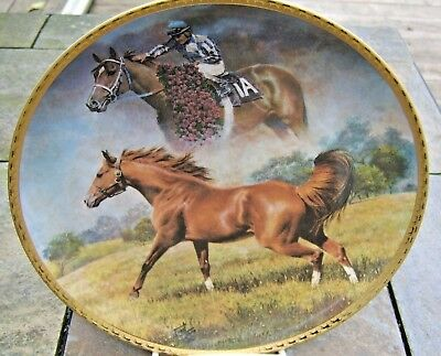 """fred stone 10"""" plate The final tribute Secretariat outstanding gold horse edge"""