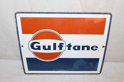 Vintage c.1960 Gulf Gulftane Gas Pump Plate Porcelain Metal Sign