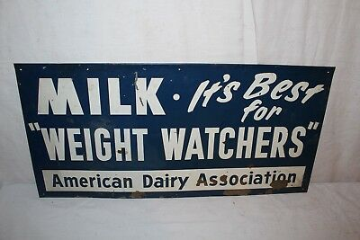 "Vintage 1950's Milk Weight Watchers American Dairy Assn. Gas Oil 24"" Metal Sign"