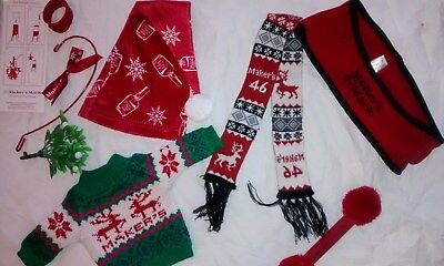 LOT Makers Mark Bottle Sweater Ugly Christmas Sweater Scarf Ear Muffs Santa Hat