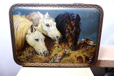 J F Herring Horses Victorian Antique Tin Box Cadburys Three British Queens
