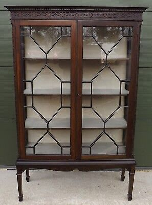 Antique Edwardian Astral-Glazed Display Cabinet Elegant In The Chippendale Style