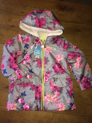 BNWT New Joules Raindrop Girls Grey Floral Waterproof Coat Uk 5 6 School Jacket