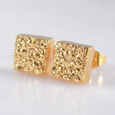 8mm Square Natural Agate Titanium Druzy Stud Earrings Full Gold Plated T044124