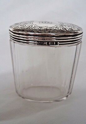 Large Victorian 1900 Sterling / Solid Silver Topped Jar