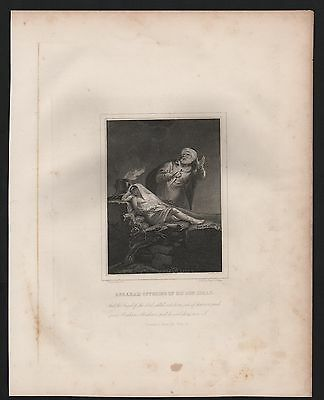 Rare Original 1861 Antique ABRAHAM OFFERING ISAAC Steel Engraved Bible Print