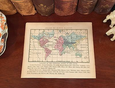 Original 1856 Antique Climate Map WORLD RIVER BASINS Hand-Colored Global Chart