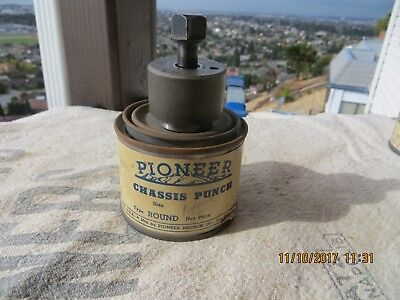 "Vintage Pioneer Round Radio Chassis Knockout Punch 1 11/64"" in Can"