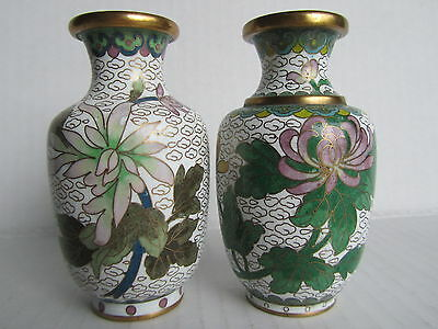 Pair Of Vintage Chinese Cloisonné Vases